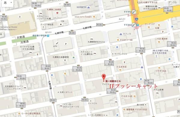 すすきのプッシーキャットアクセス地図マップ
